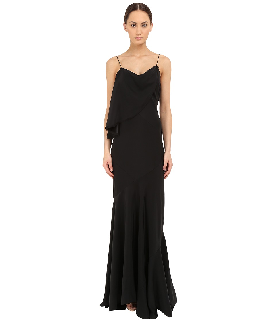 Zac Posen Spaghetti Strap Flutter Gown Black Dress
