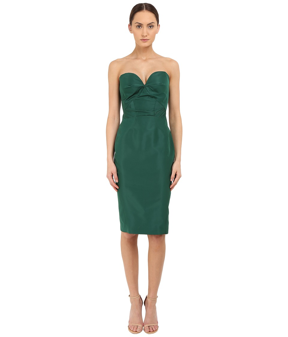 Zac Posen - Strapless Fitted Cocktail Dress (Forest Green) Women's Dress