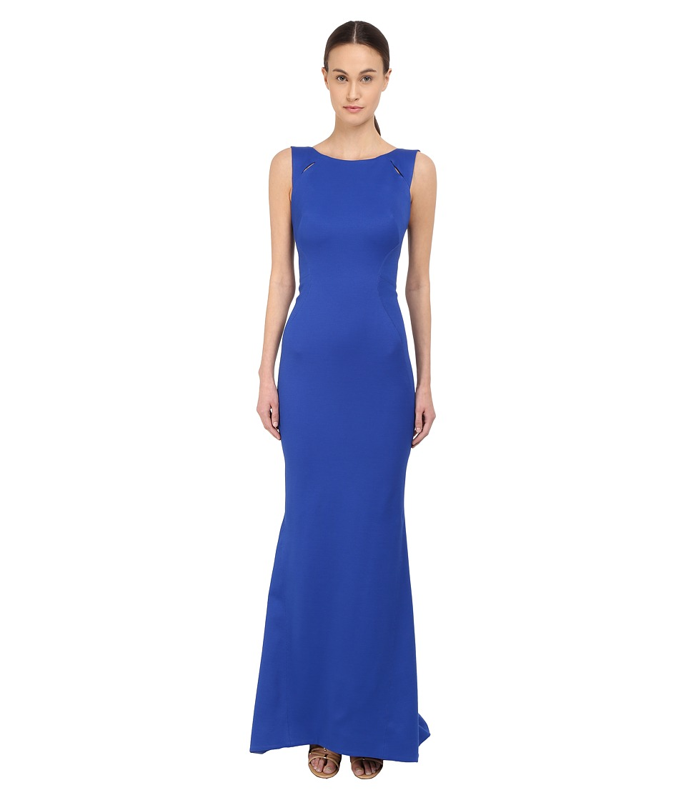 Zac Posen - Sleeveless Boat Neck Gown (Royal Blue) Women's Dress