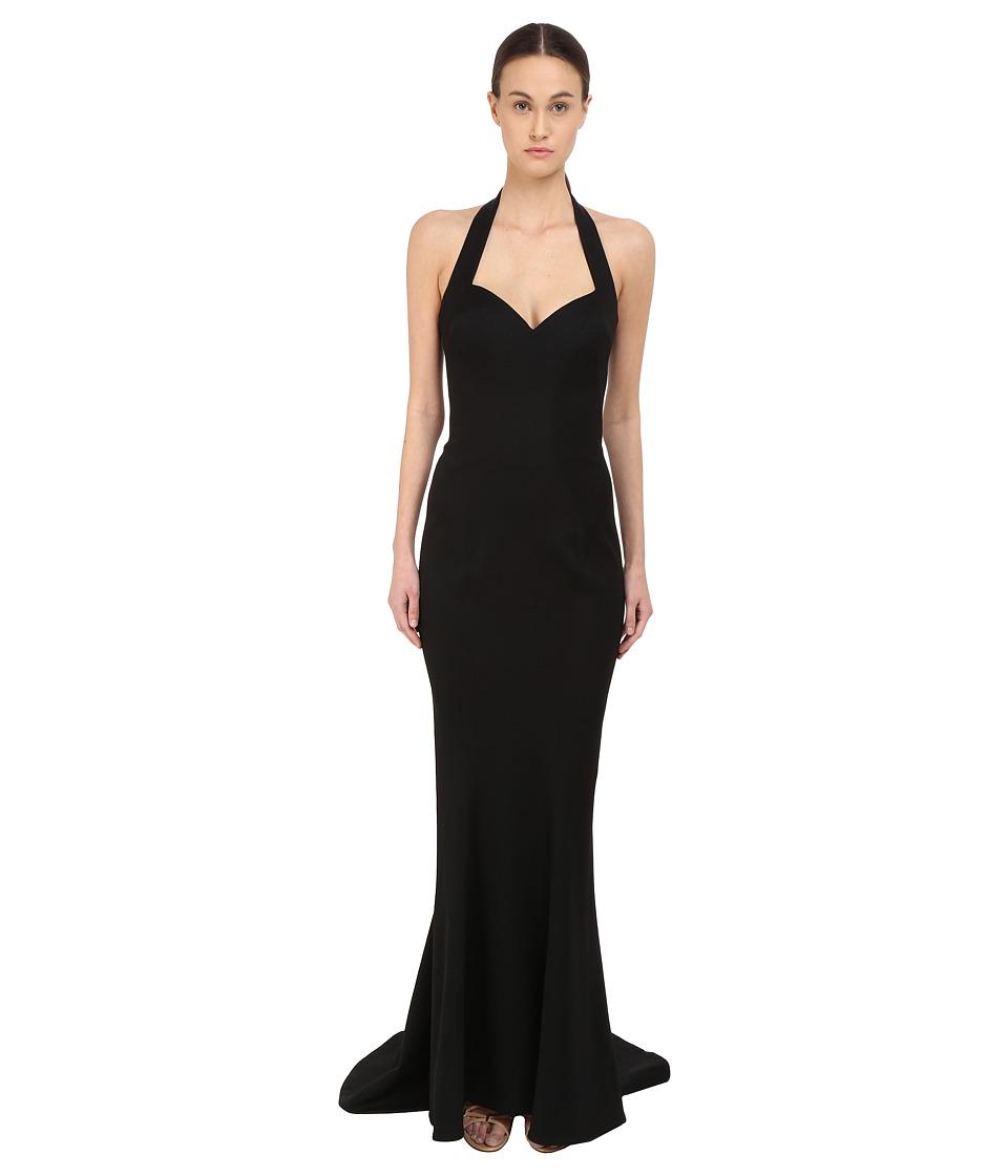 Zac Posen Halter Strap Gown (Black) Women