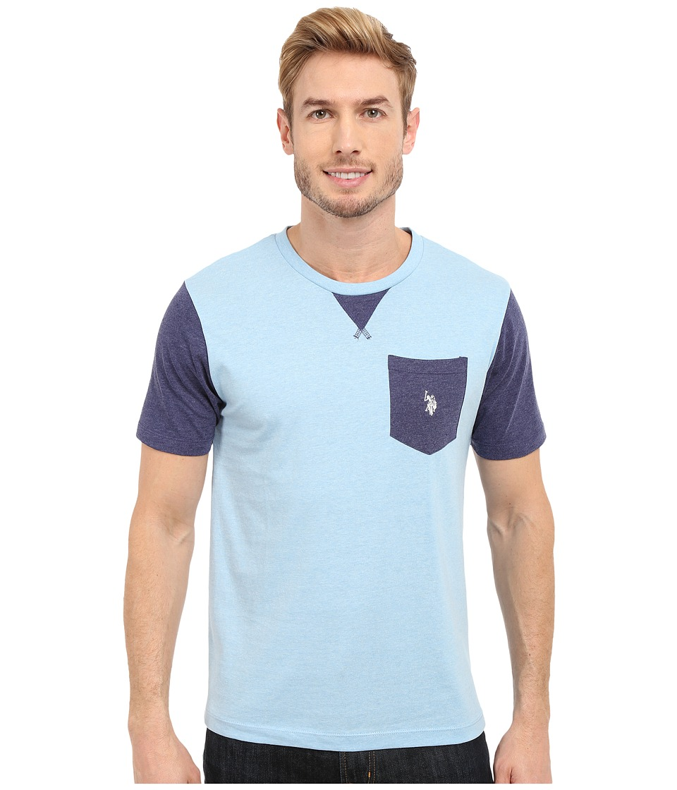U.S. POLO ASSN. - Crew Neck Pocket T-Shirt (Yale Blue Heather) Men's Short Sleeve Pullover