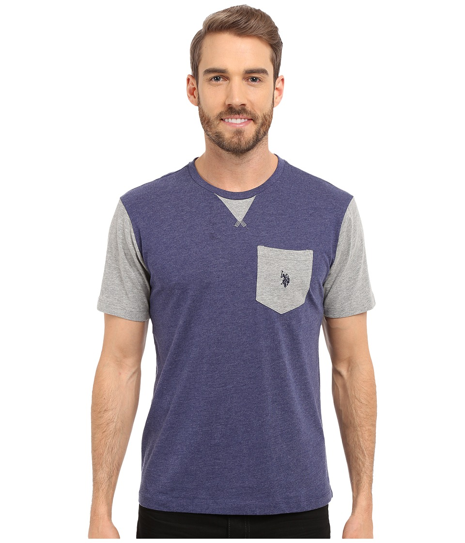 U.S. POLO ASSN. - Crew Neck Pocket T-Shirt (Dodger Blue Heather) Men's Short Sleeve Pullover