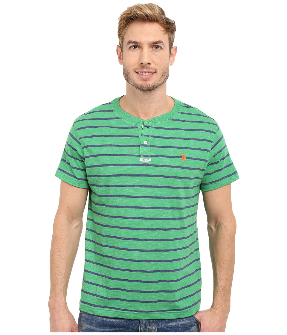 U.S. POLO ASSN. - Slim Fit Stripe Slub Henley T-Shirt (Grass Heather) Men's Short Sleeve Pullover