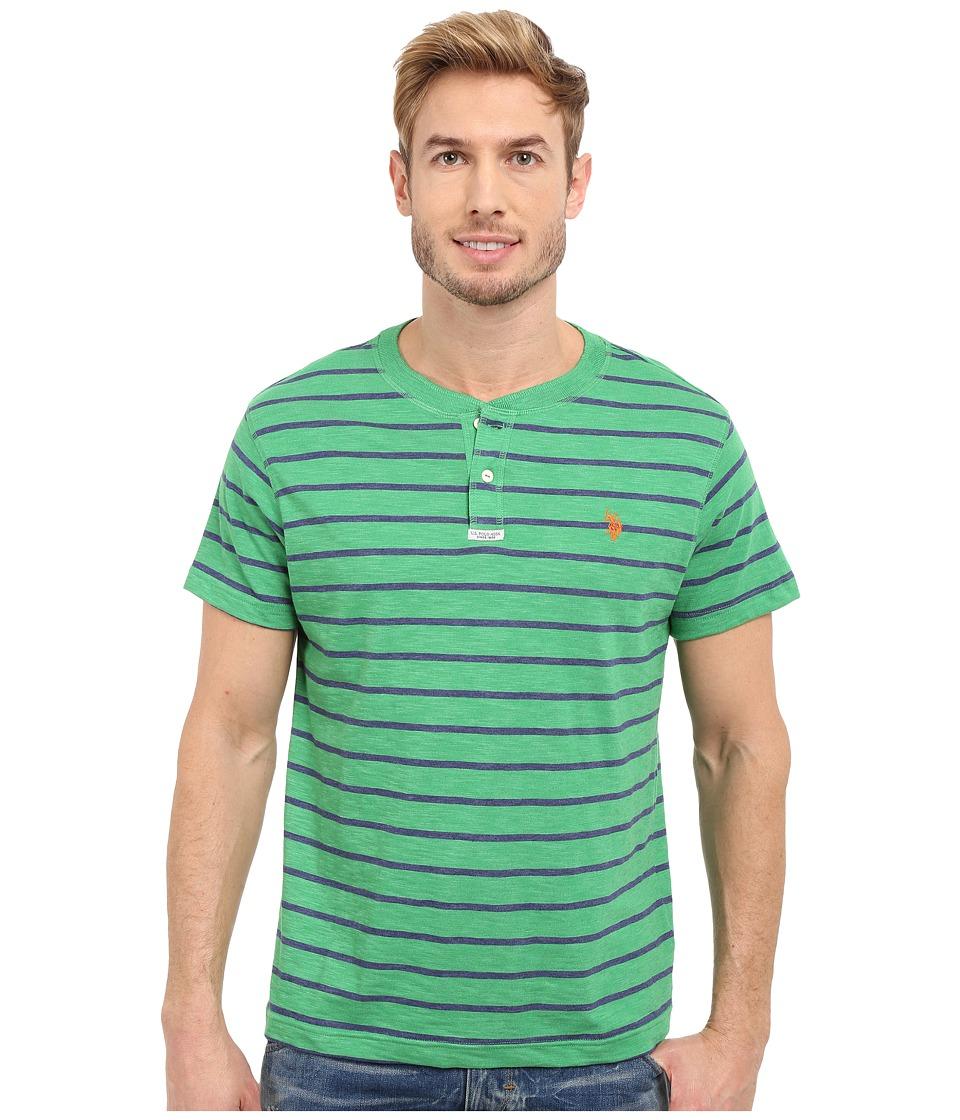 U.S. POLO ASSN. - Slim Fit Stripe Slub Henley T-Shirt (Grass Heather) Men's Short Sleeve Pullover