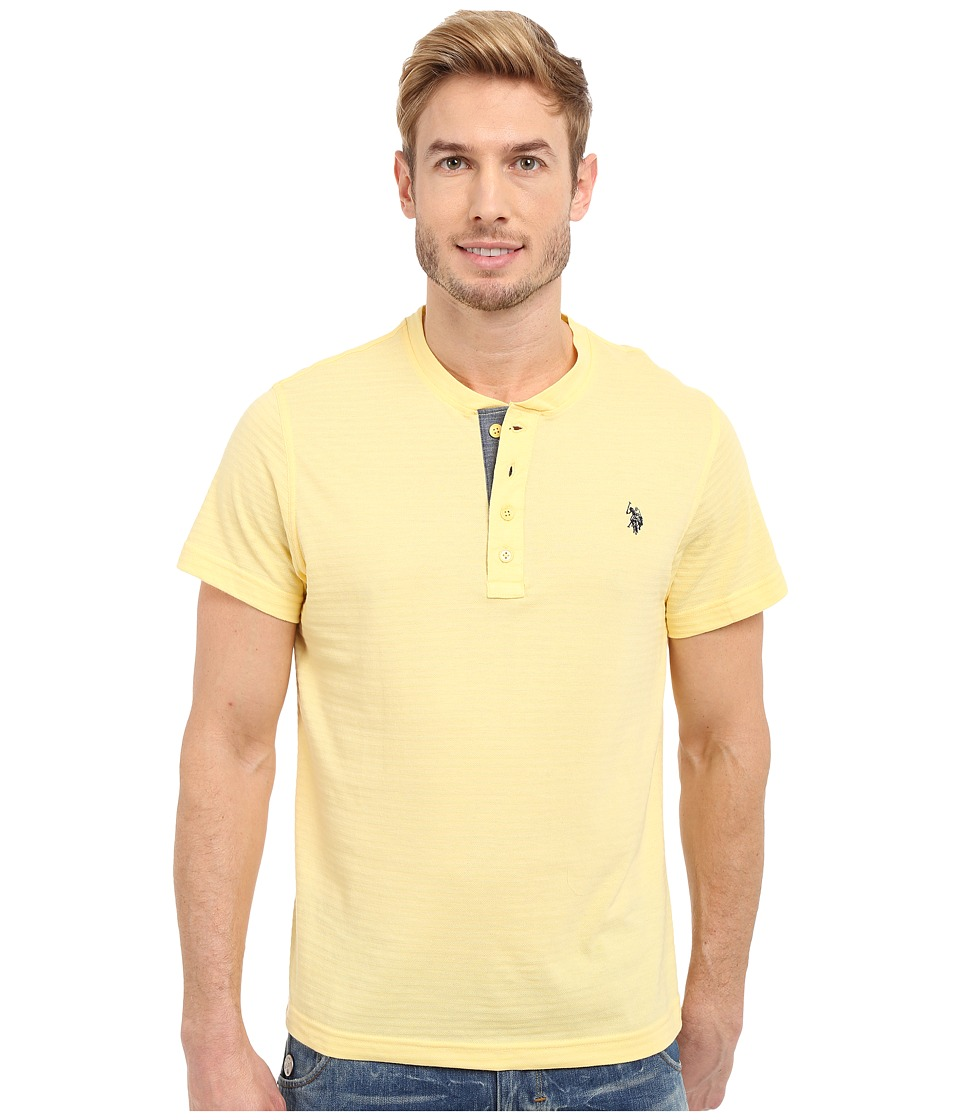 U.S. POLO ASSN. - Slim Fit Textured Henley T-Shirt (Lemon Frost) Men's Short Sleeve Pullover