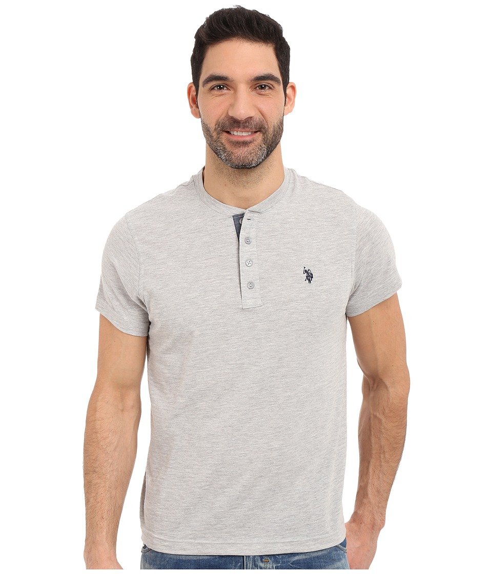 U.S. POLO ASSN. - Slim Fit Textured Henley T-Shirt (Light Heather Gray) Men's Short Sleeve Pullover