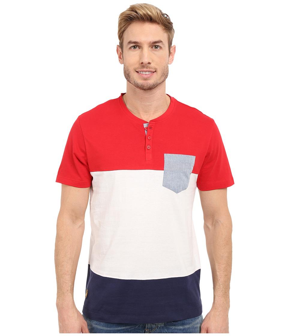 U.S. POLO ASSN. - Wide Stripe Pocket Henley T-Shirt (Winning Red) Men's Short Sleeve Pullover