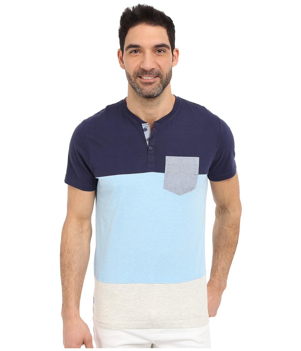 U.S. POLO ASSN. - Wide Stripe Pocket Henley T-Shirt (Classic Navy) Men's Short Sleeve Pullover