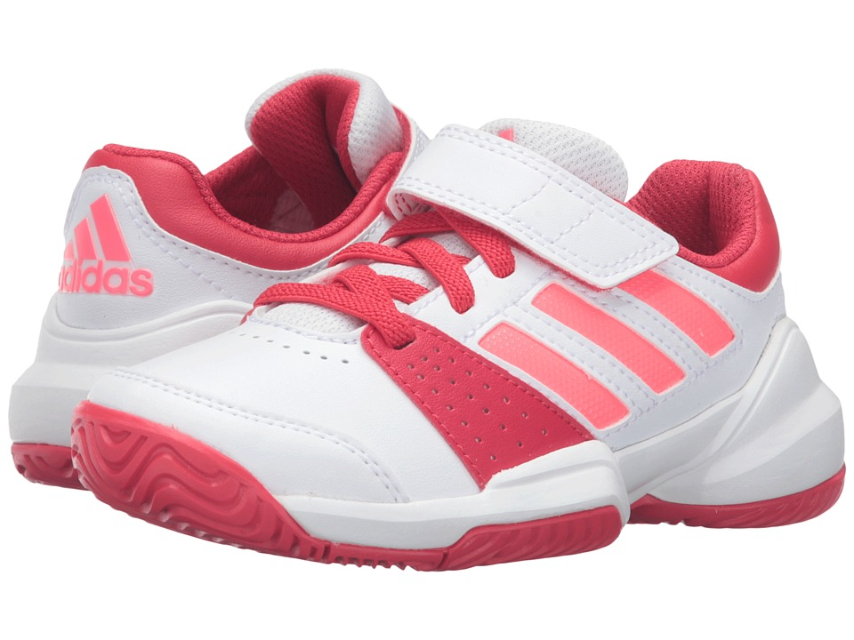 adidas Kids - Court EL C (Little Kid) (White/Flash Red/Ray Red) Girls Shoes