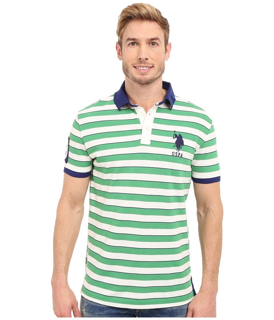 U.S. POLO ASSN. - Slim Fit Shadow Stripe Polo Shirt (Grass Heather) Men's Short Sleeve Pullover