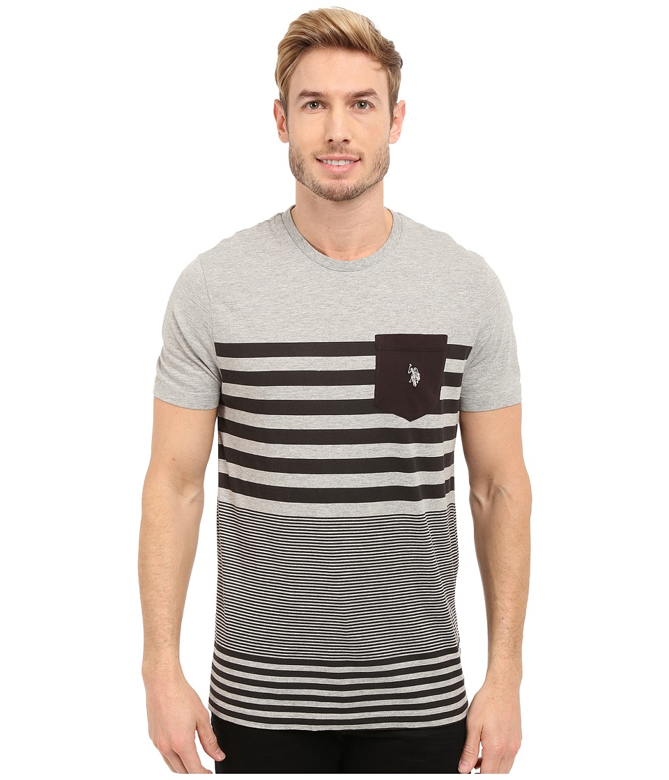 U.S. POLO ASSN. - Engineered Stripe Crew Neck Pocket T-Shirt (Heather Grey) Men's Short Sleeve Pullover