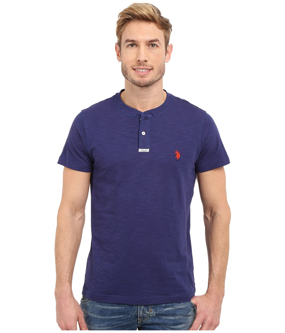 U.S. POLO ASSN. - Slim Fit Slub Space Dyed Henley T-Shirt (Dodger Blue) Men's Short Sleeve Pullover