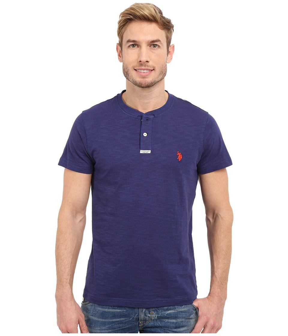 U.S. POLO ASSN. - Slim Fit Slub Space Dyed Henley T-Shirt (Dodger Blue) Men's Short Sleeve Pullover