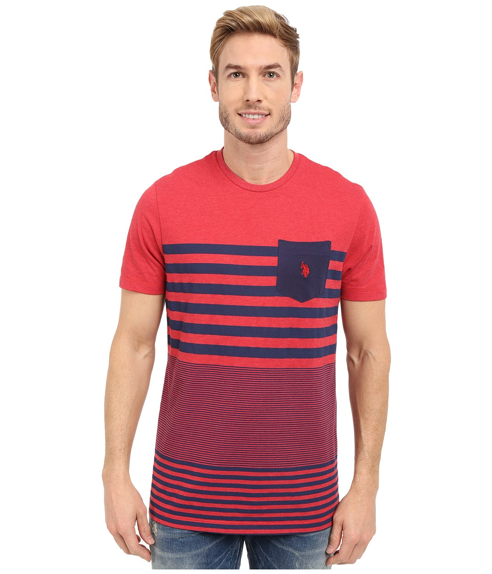 U.S. POLO ASSN. - Engineered Stripe Crew Neck Pocket T-Shirt (Red Heather) Men's Short Sleeve Pullover