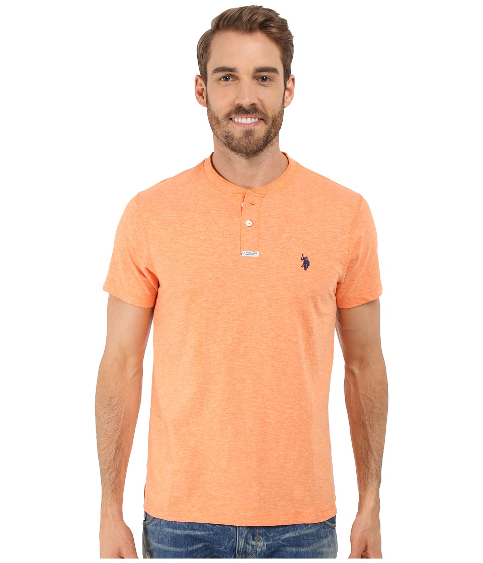 U.S. POLO ASSN. - Slim Fit Slub Space Dyed Henley T-Shirt (Sunrise Heather) Men's Short Sleeve Pullover