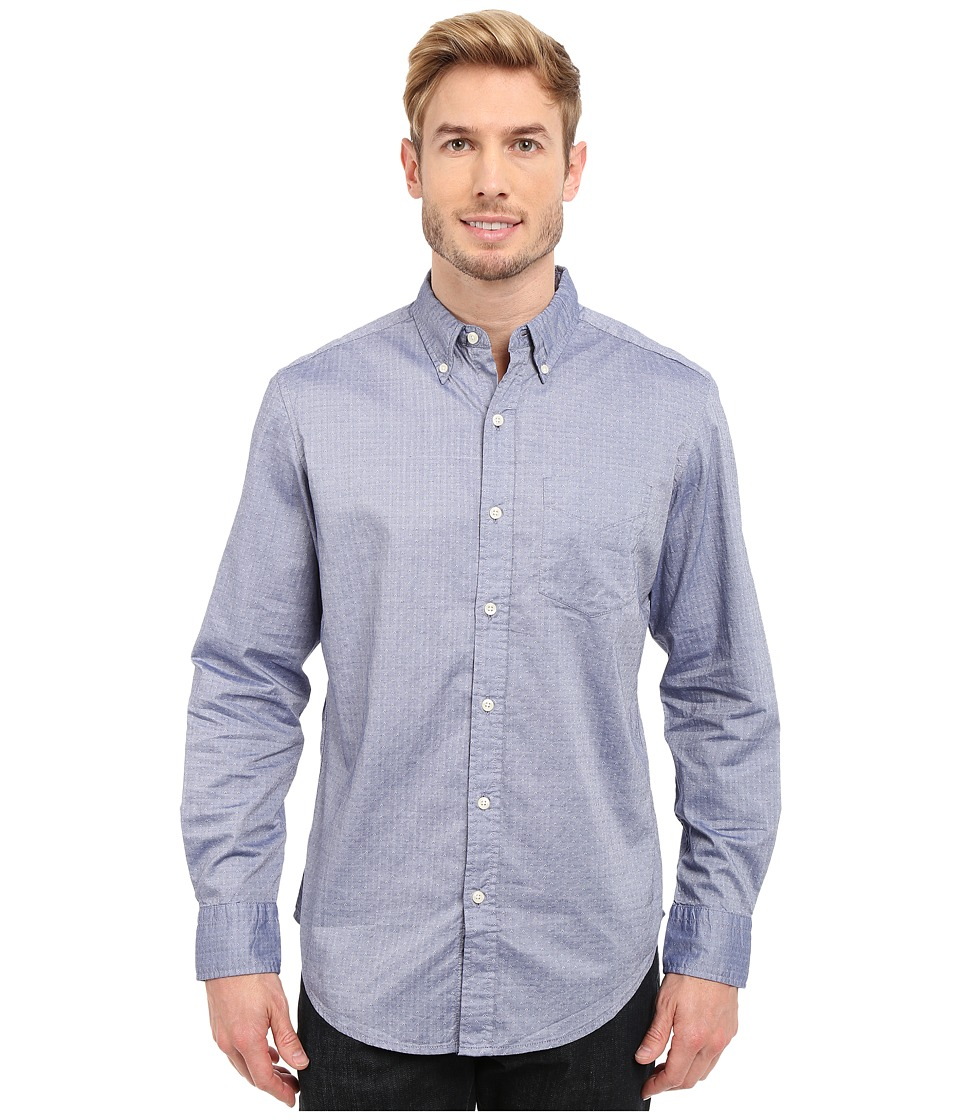 U.S. POLO ASSN. - Dobby Print Long Sleeve Oxford Shirt (Marina Blue) Men's Long Sleeve Button Up
