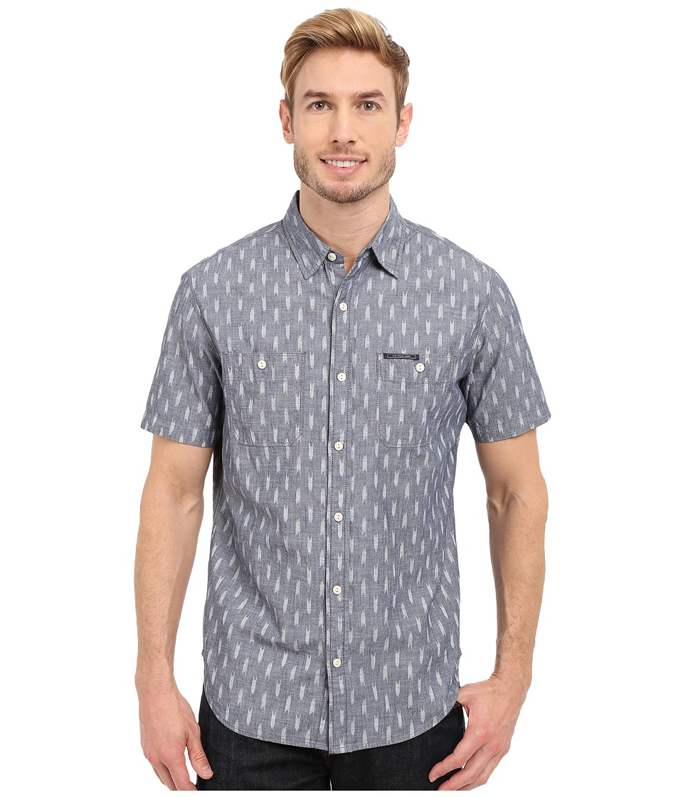 U.S. POLO ASSN. - Short Sleeve Slim Fit Printed Canvas Shirt (Infinity Blue) Men's Short Sleeve Button Up
