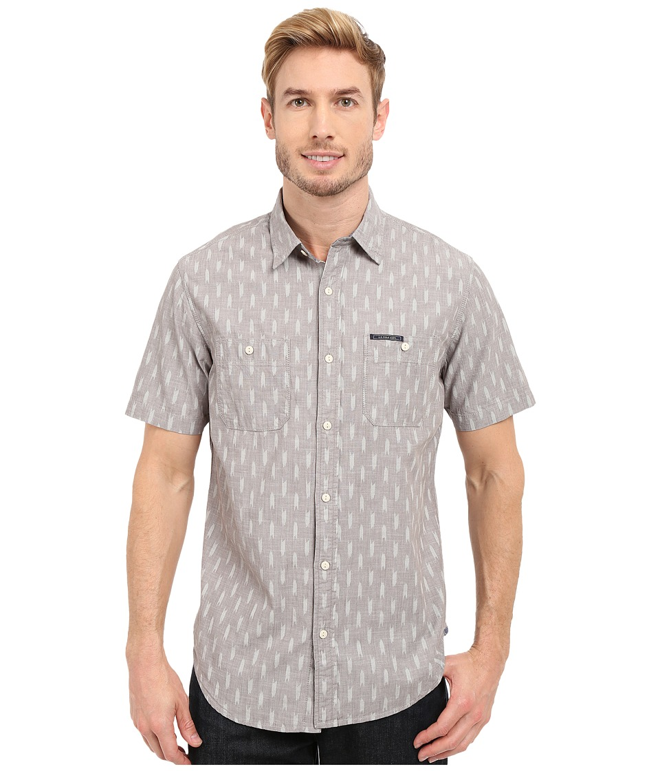 U.S. POLO ASSN. - Short Sleeve Slim Fit Printed Canvas Shirt (Industrial Grey) Men's Short Sleeve Button Up