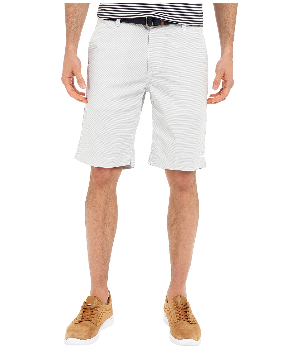 U.S. POLO ASSN. Horizontal Stripe Flat Front Belted Shorts (Antique White) Men