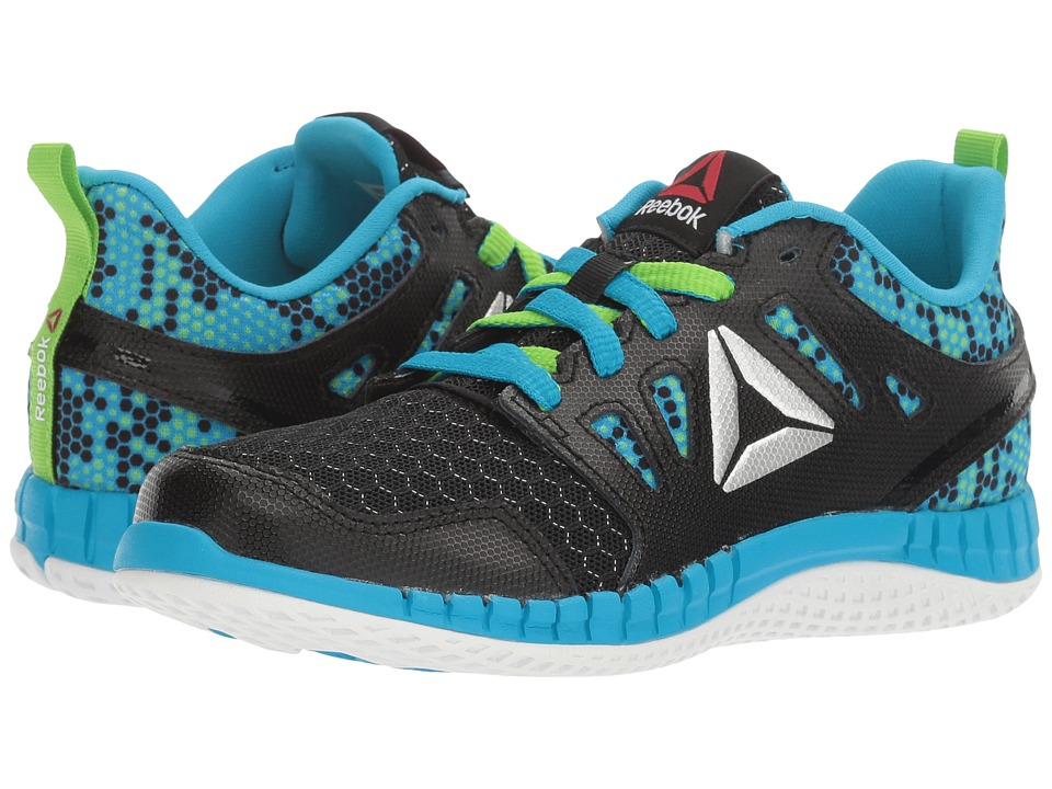 Reebok Kids - ZPrint 3D MTL (Little Kid) (Black/Semi Solar Green/Wild Blue/Silver Metallic) Boys Shoes