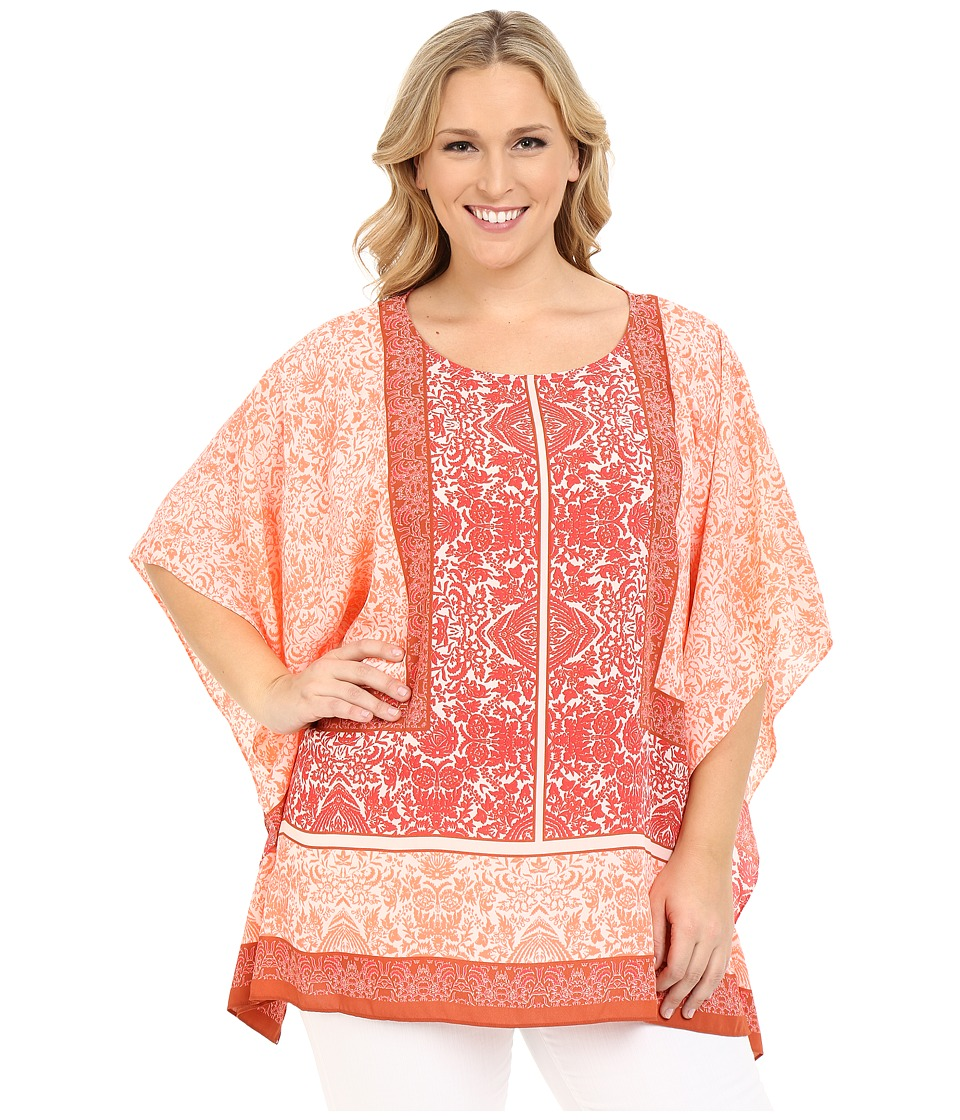 Vince Camuto Specialty Size - Plus Size Maze Panel Poncho (Red Earth) Women's Blouse