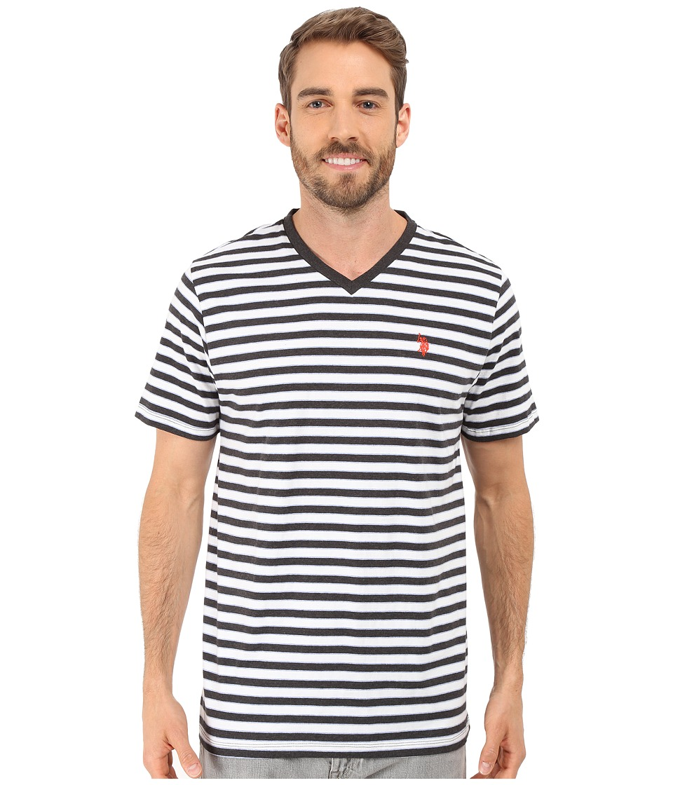 U.S. POLO ASSN. - Candy Striped V-Neck T-Shirt (Black Heather) Men's Short Sleeve Pullover