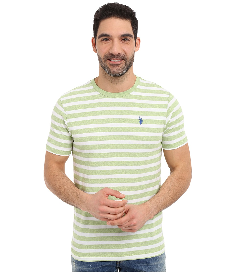 U.S. POLO ASSN. - Short Sleeve M lange Stripe Crew Neck T-Shirt (Summer Lime) Men's Short Sleeve Pullover