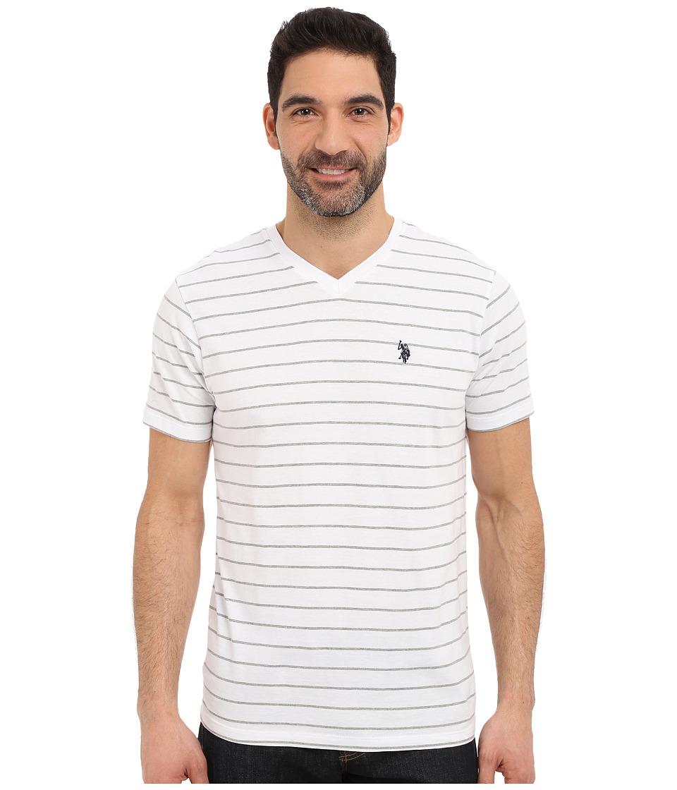 U.S. POLO ASSN. - Horizontal Pin Stripe V-Neck T-Shirt (White) Men's Short Sleeve Pullover