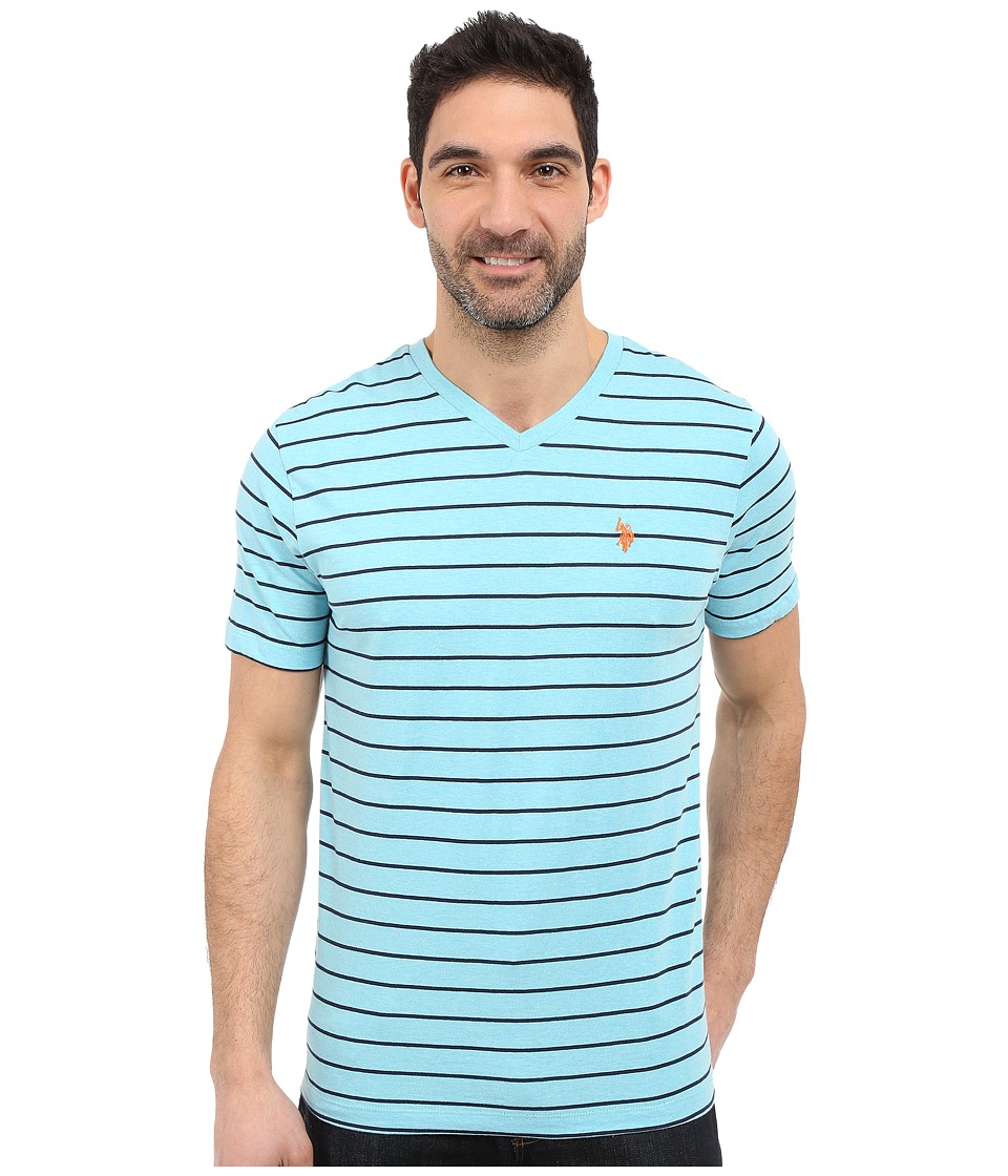 U.S. POLO ASSN. - Horizontal Pin Stripe V-Neck T-Shirt (Capri Heather) Men's Short Sleeve Pullover