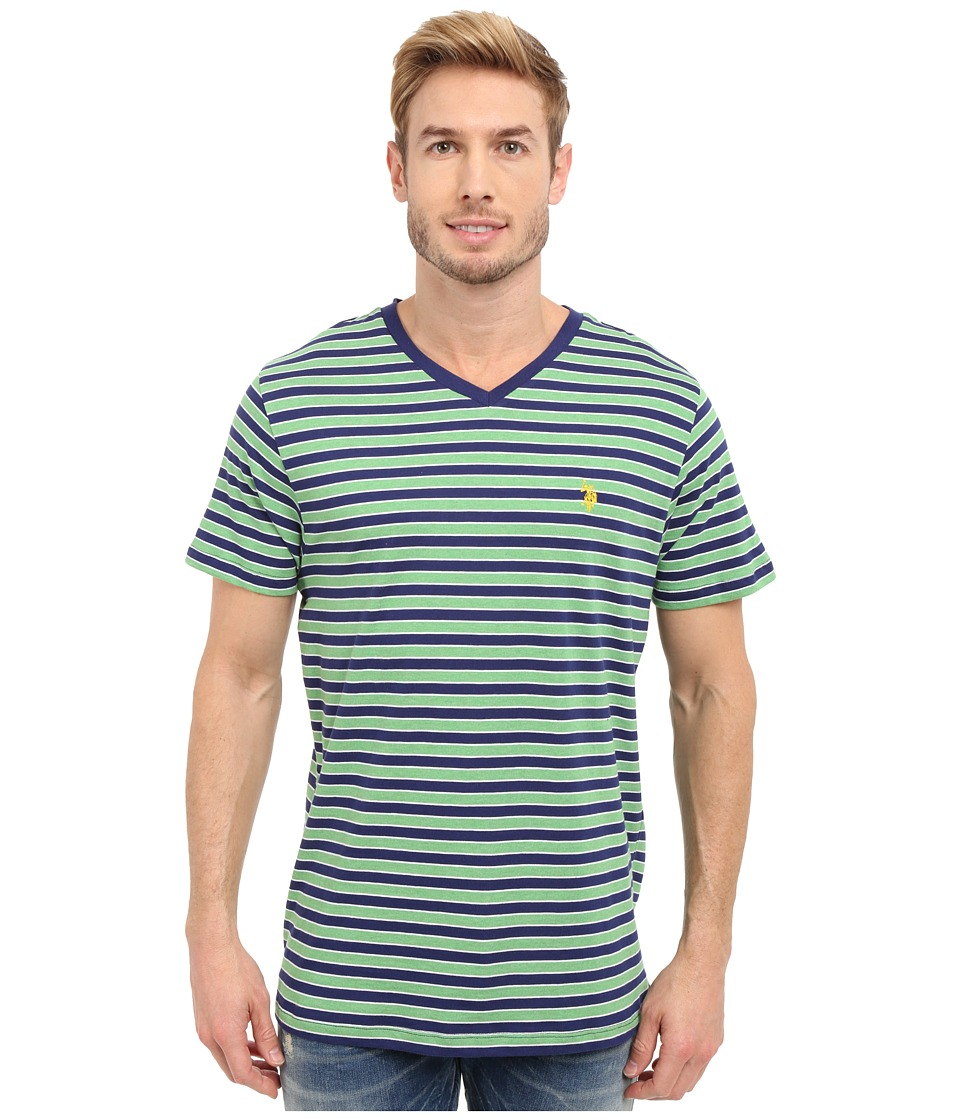 U.S. POLO ASSN. - Candy Striped V-Neck T-Shirt (Grass Heather) Men's Short Sleeve Pullover