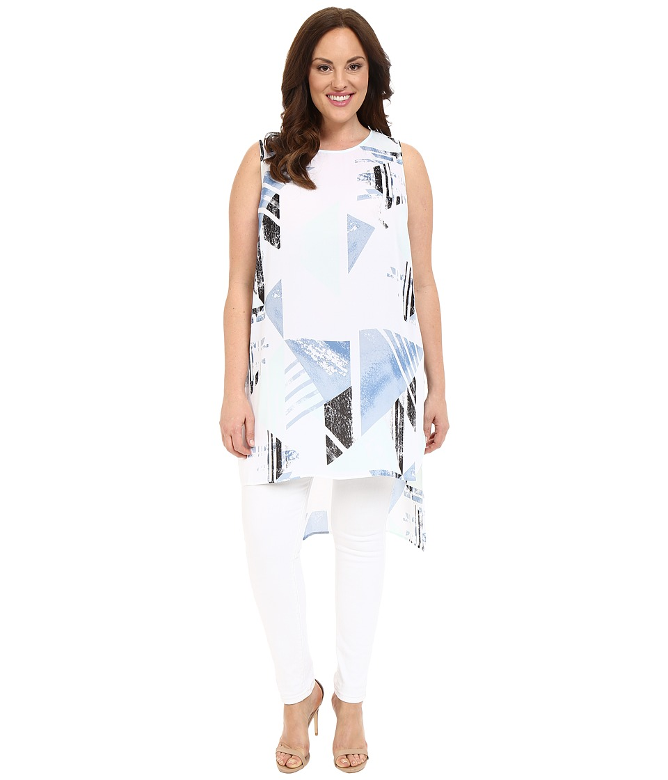 Vince Camuto Specialty Size - Plus Size Sleeveless Pastel Fresco Long Tunic (Echo Blue) Women's Blouse plus size,  plus size fashion plus size appare