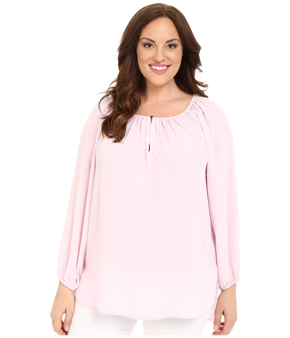 Vince Camuto Specialty Size - Plus Size Long Sleeve Shirred Neck Peasant Blouse (Sugar Petal) Women's Blouse