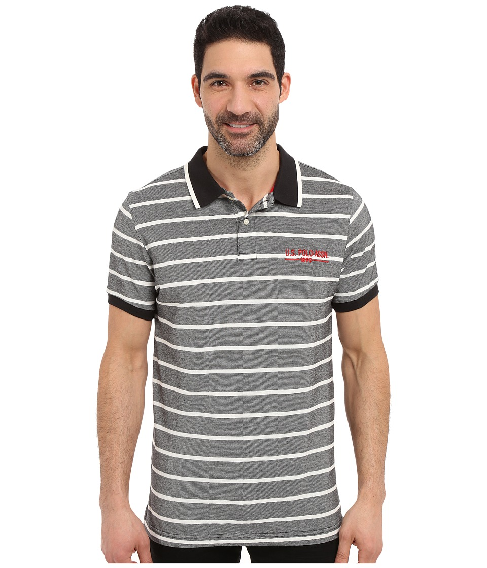 U.S. POLO ASSN. - Embellished Pencil Stripe Polo Shirt (Black) Men's Short Sleeve Knit