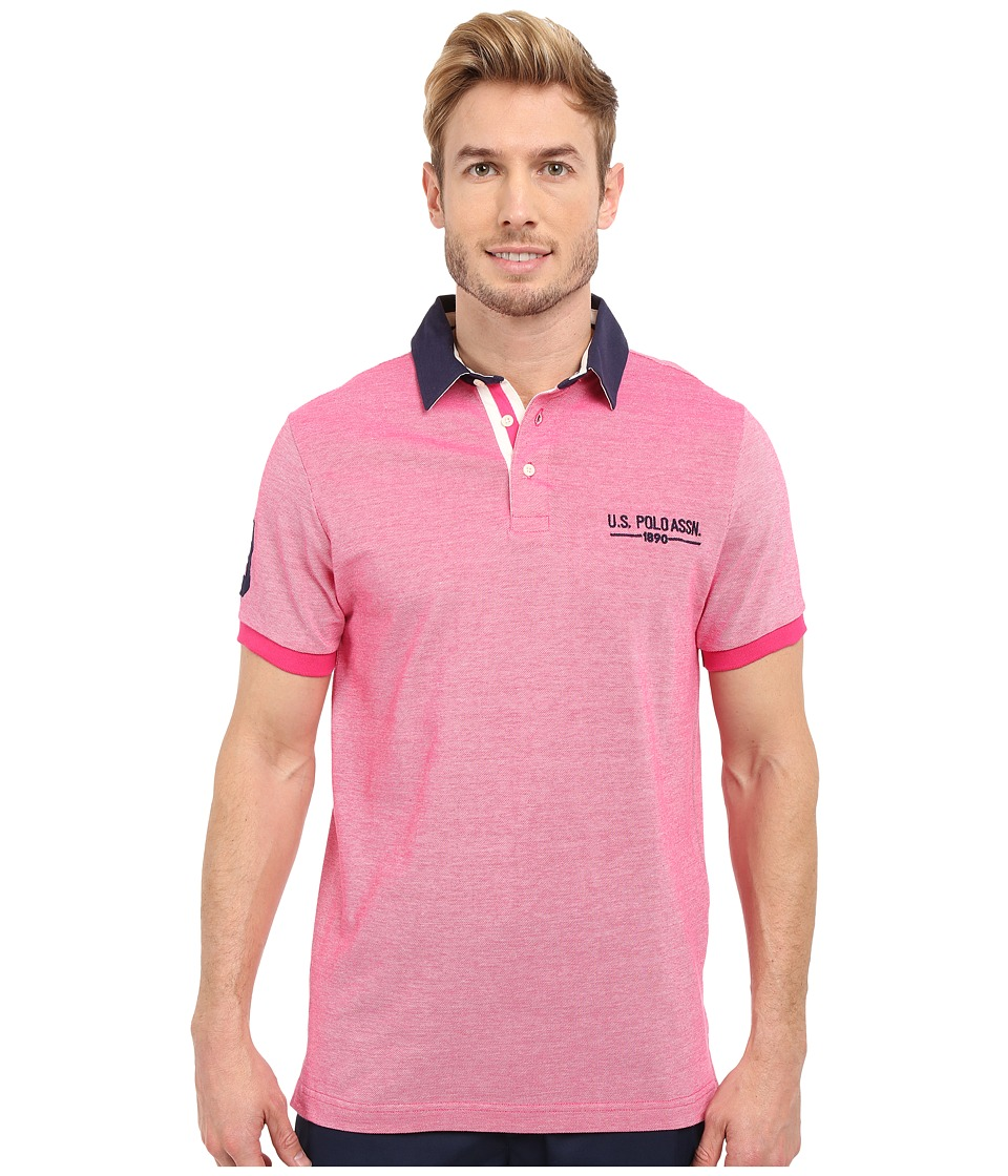 U.S. POLO ASSN. - Solid Pique Polo Shirt w/ Contrast Collar (Caribbean Pink) Men's Short Sleeve Pullover