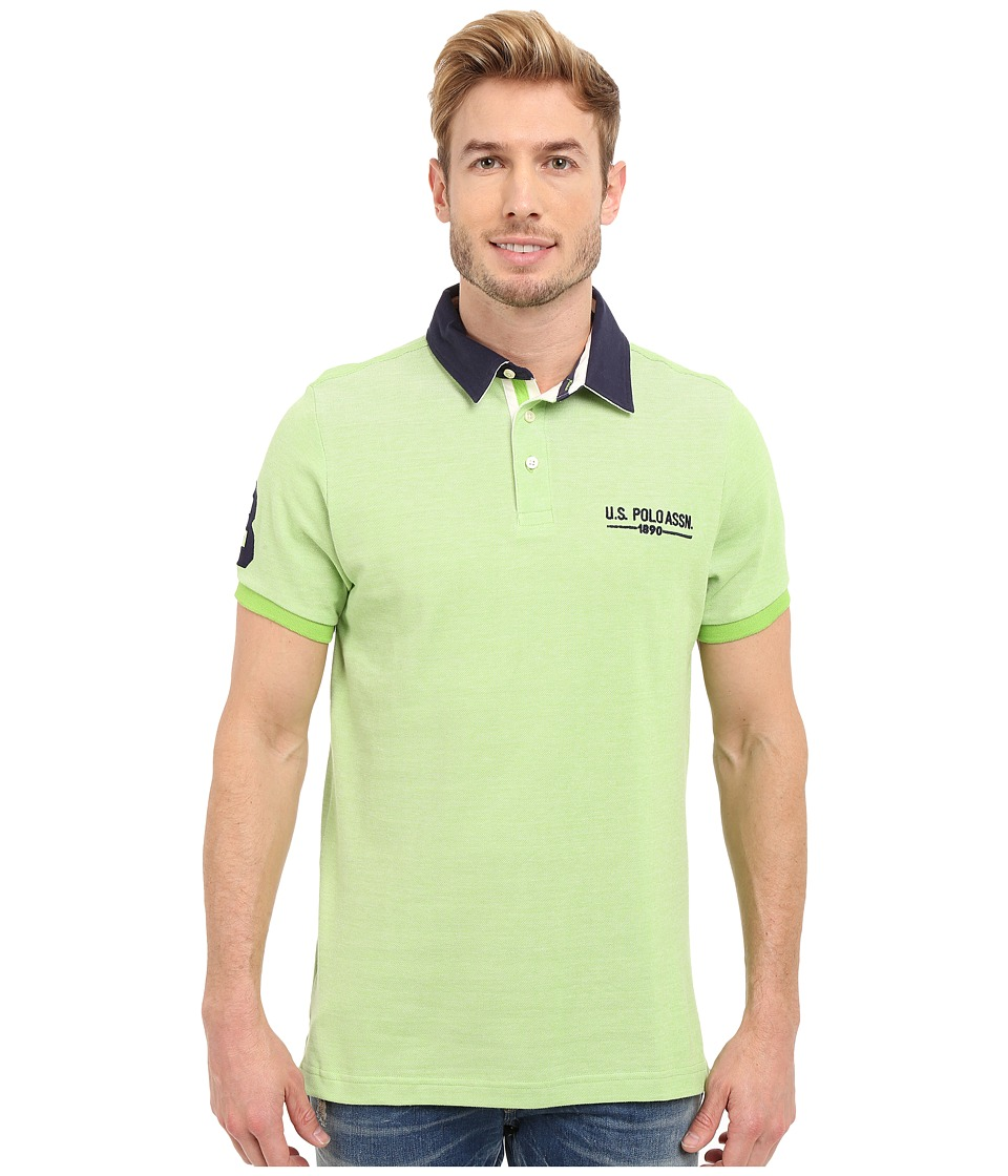 U.S. POLO ASSN. - Solid Pique Polo Shirt w/ Contrast Collar (Summer Lime) Men's Short Sleeve Pullover