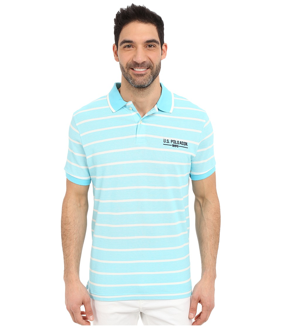 U.S. POLO ASSN. - Embellished Pencil Stripe Polo Shirt (Swimming Blue) Men's Short Sleeve Knit