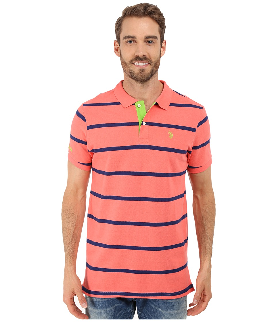 U.S. POLO ASSN. - Stripe Pique Polo Shirt (Pink Coral) Men's Short Sleeve Knit