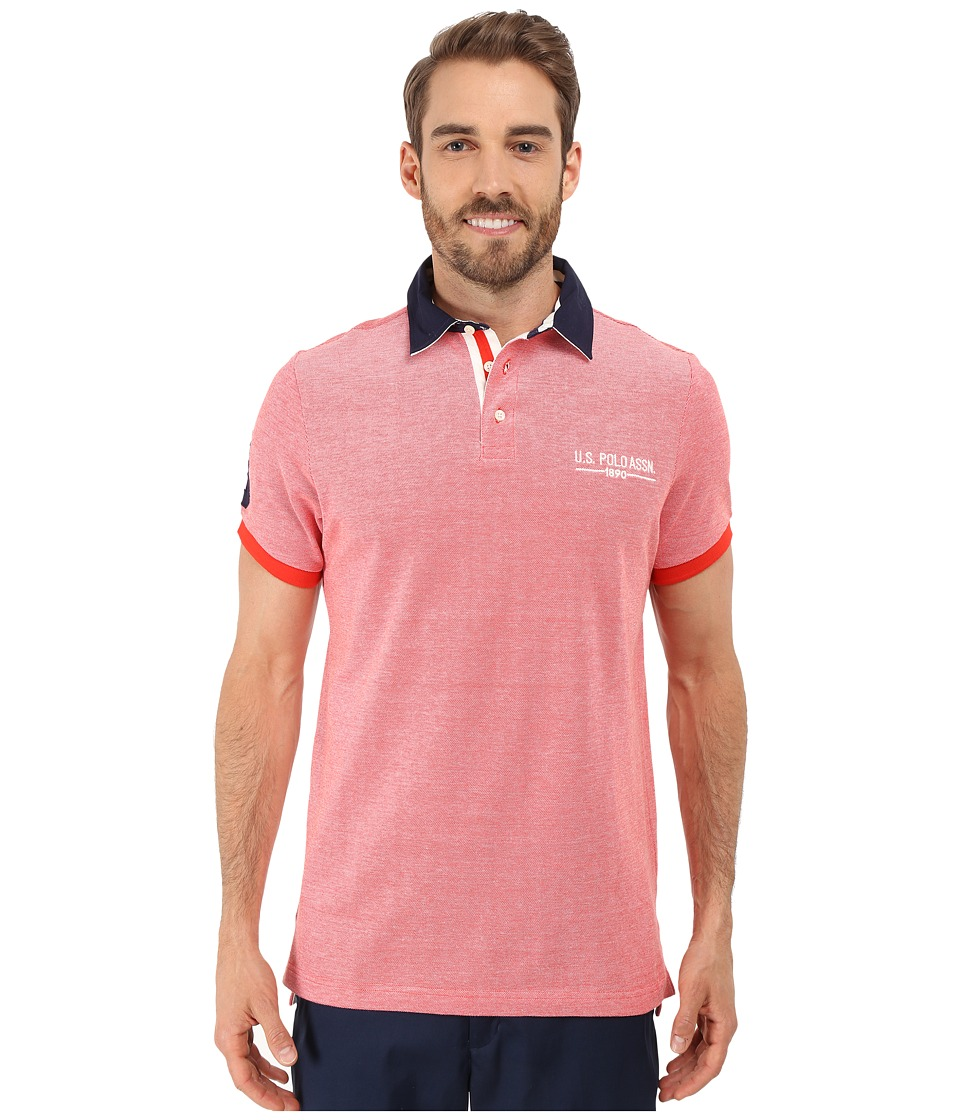 U.S. POLO ASSN. - Solid Pique Polo Shirt w/ Contrast Collar (Crimson Fire) Men's Short Sleeve Pullover