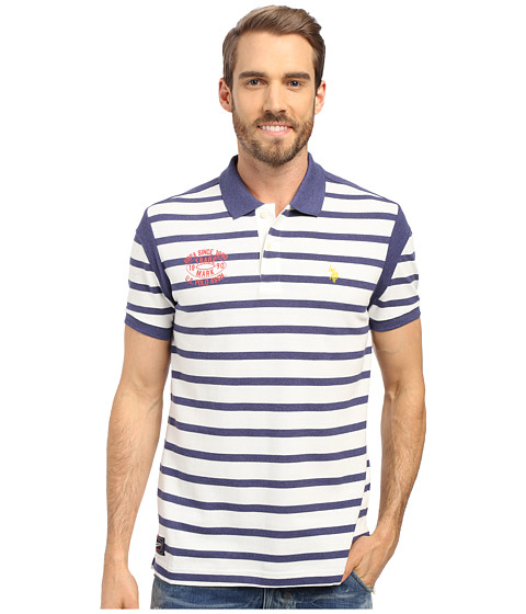 U.S. POLO ASSN. - Striped Slim Fit Polo Shirt (Dodger Blue Heather) Men's Short Sleeve Knit