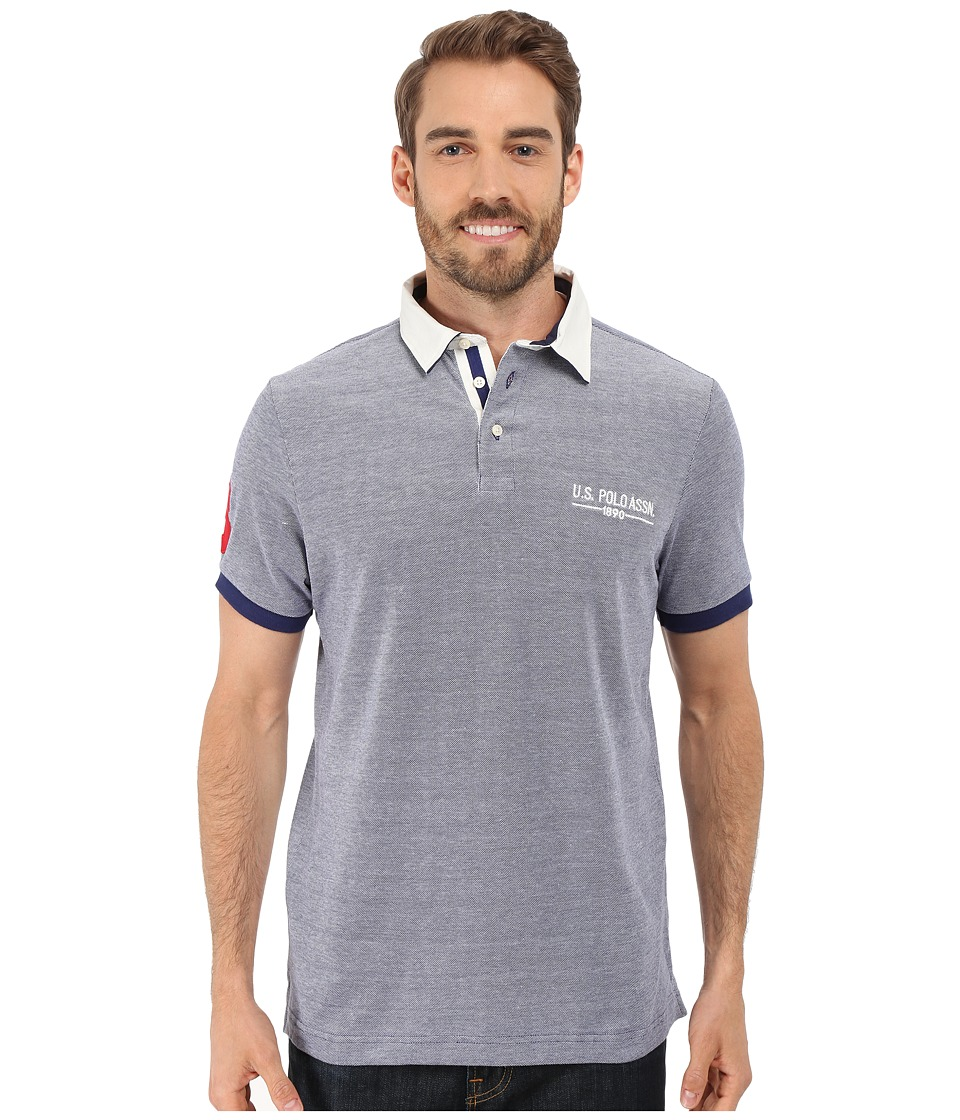 U.S. POLO ASSN. - Solid Pique Polo Shirt w/ Contrast Collar (Dodger Blue) Men