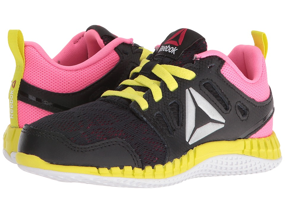 Reebok Kids - ZPrint 3D (Little Kid) (Black/Poison Pink/Hero Yellow/Silver Metallic) Girls Shoes