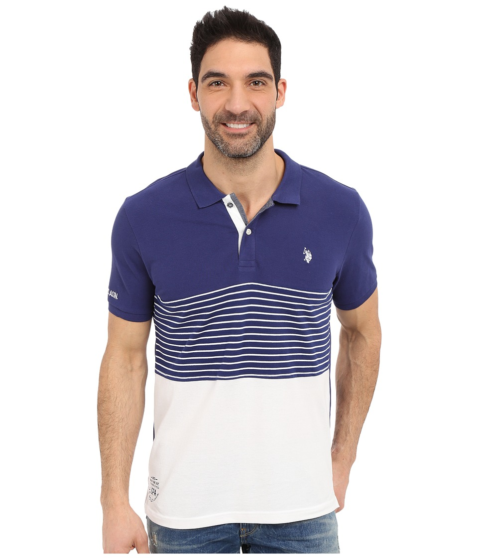 U.S. POLO ASSN. - Striped Color Block Polo Shirt (Marina Blue) Men's Short Sleeve Knit