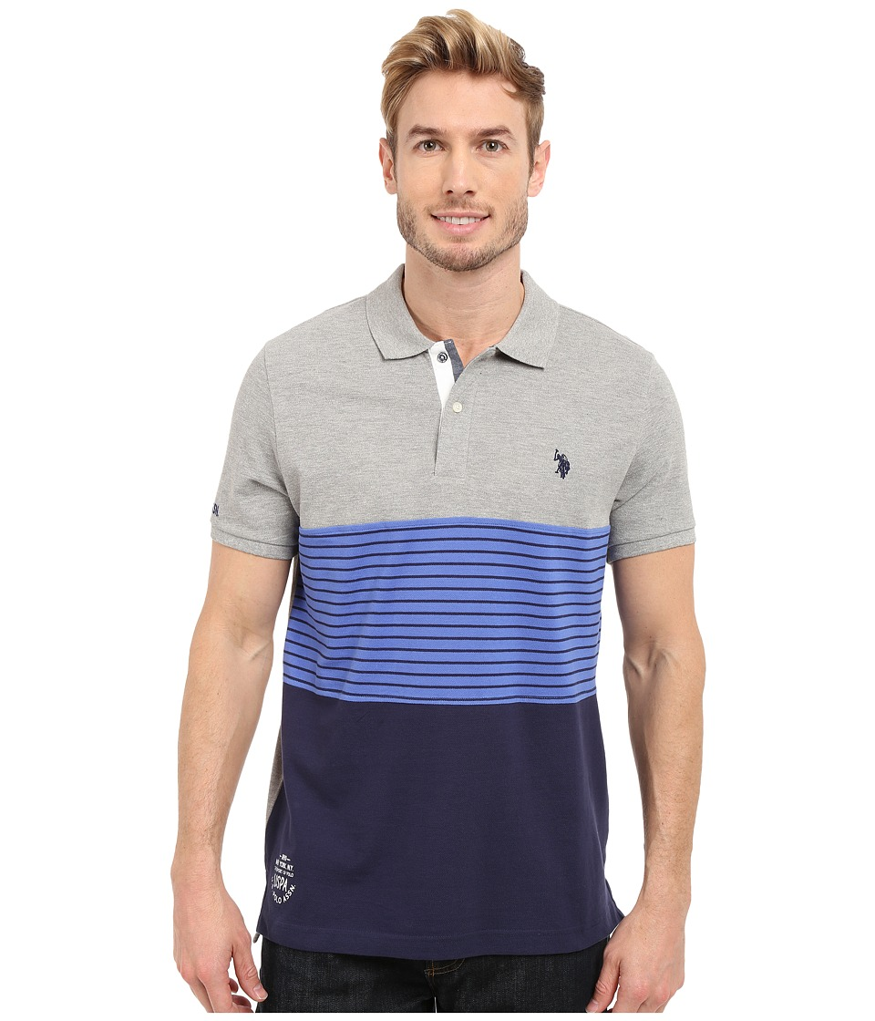 U.S. POLO ASSN. - Striped Color Block Polo Shirt (Heather Grey) Men's Short Sleeve Knit