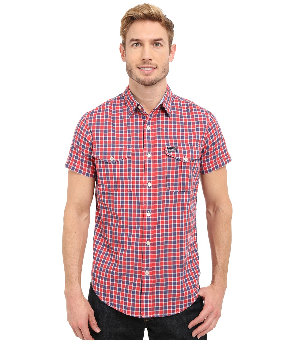 U.S. POLO ASSN. - Slim Fit Short Sleeve Plaid Sport Shirt (Crimson Fire) Men's Short Sleeve Button Up