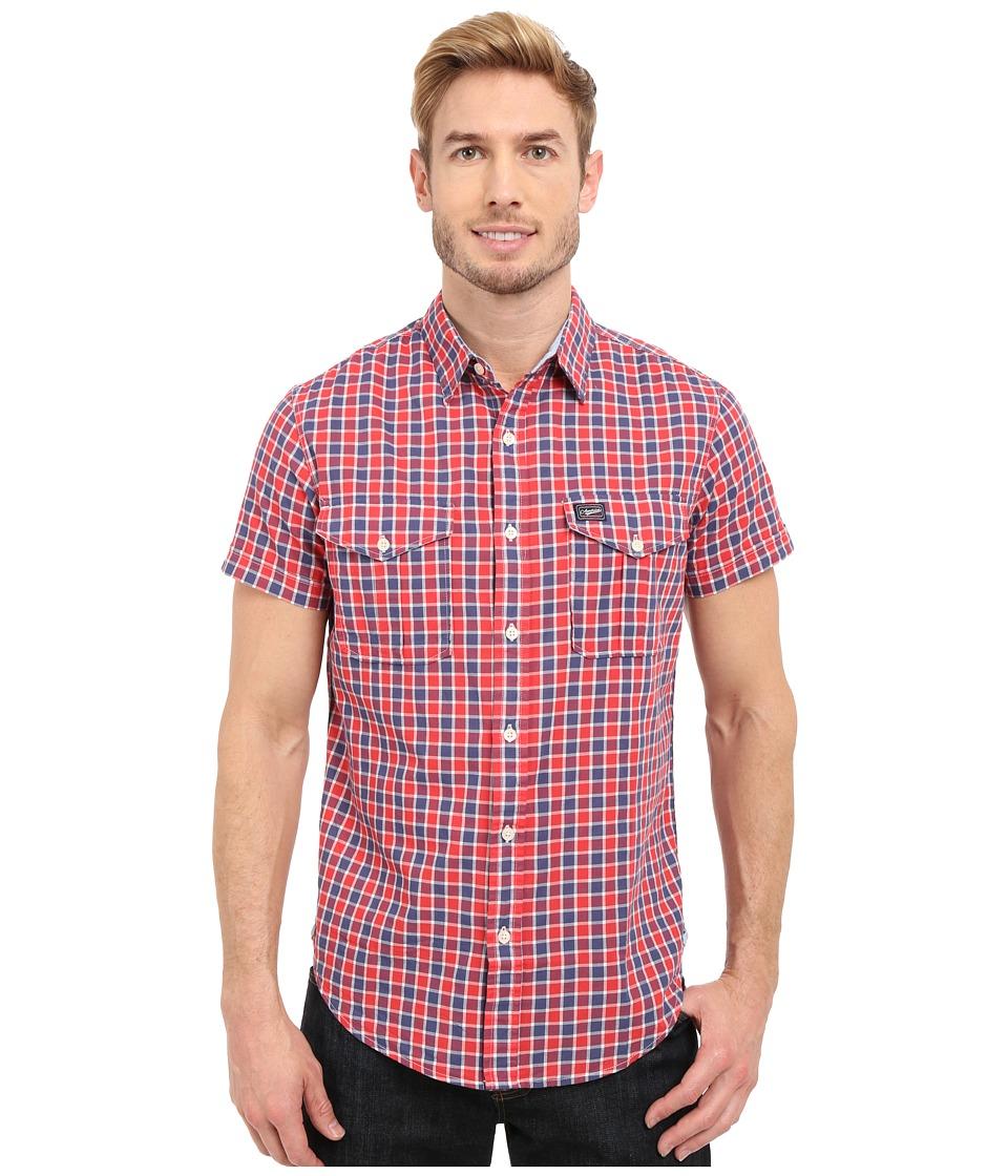 U.S. POLO ASSN. - Slim Fit Short Sleeve Plaid Sport Shirt (Crimson Fire) Men's Short Sleeve Button Up