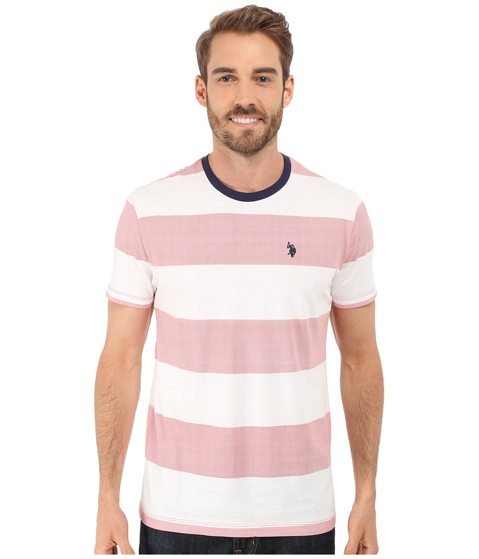 U.S. POLO ASSN. - Wide Stripe Crew Neck T-Shirt (Winning Red) Men's T Shirt