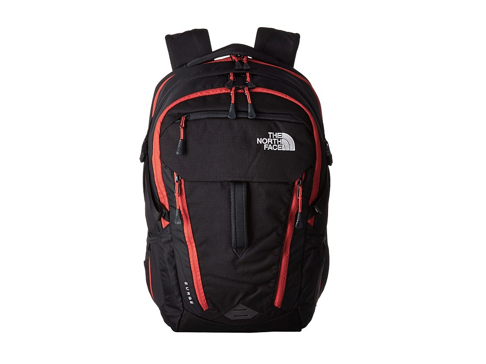 The North Face - Surge (TNF Black/Pompeian Red) Backpack Bags