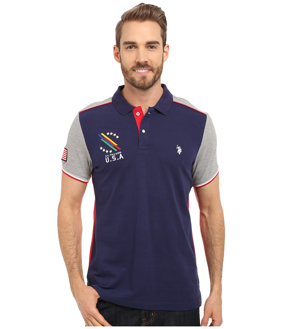 U.S. POLO ASSN. - Classic Fit Color Block Polo Shirt (Classic Navy) Men's Short Sleeve Knit