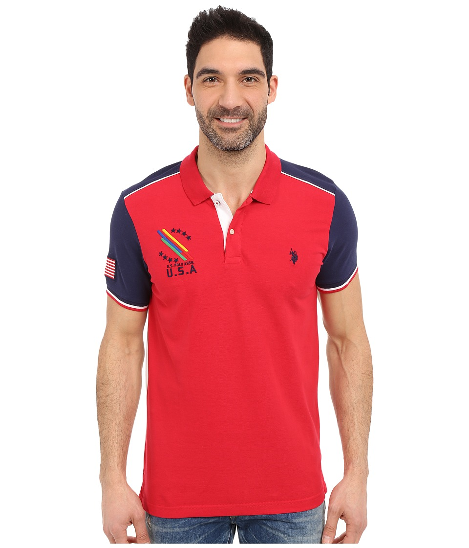 U.S. POLO ASSN. - Classic Fit Color Block Polo Shirt (Winning Red) Men's Short Sleeve Knit