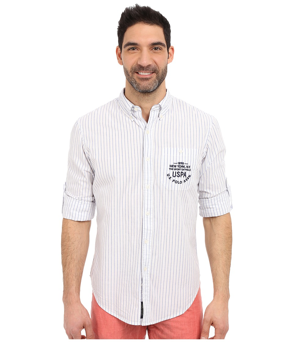 U.S. POLO ASSN. - Button Down Slim Fit Striped Oxford Shirt (Optic White) Men's Long Sleeve Button Up